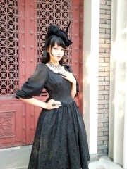 Surface Spell -Lady in Black- Puff Sleeves Vintage Gothic Lolita OP Dress - Customizable