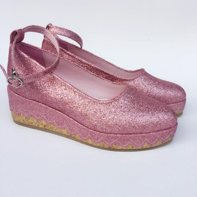 Pink Sequin Shoes & 6cm heel + 3cm platform