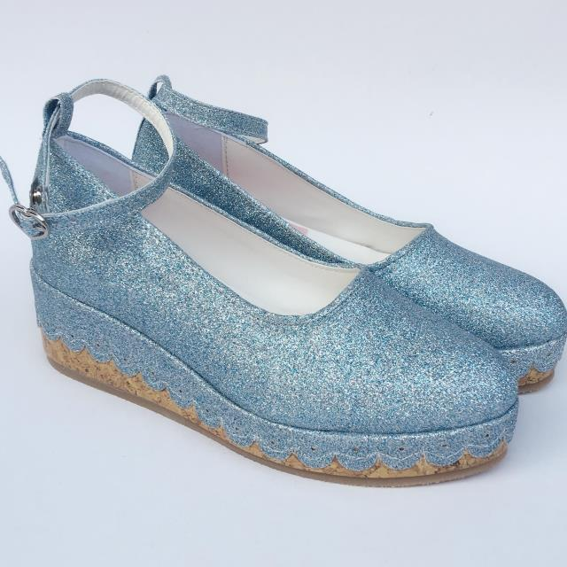 Blue Sequin Shoes & 6cm heel + 3cm platform