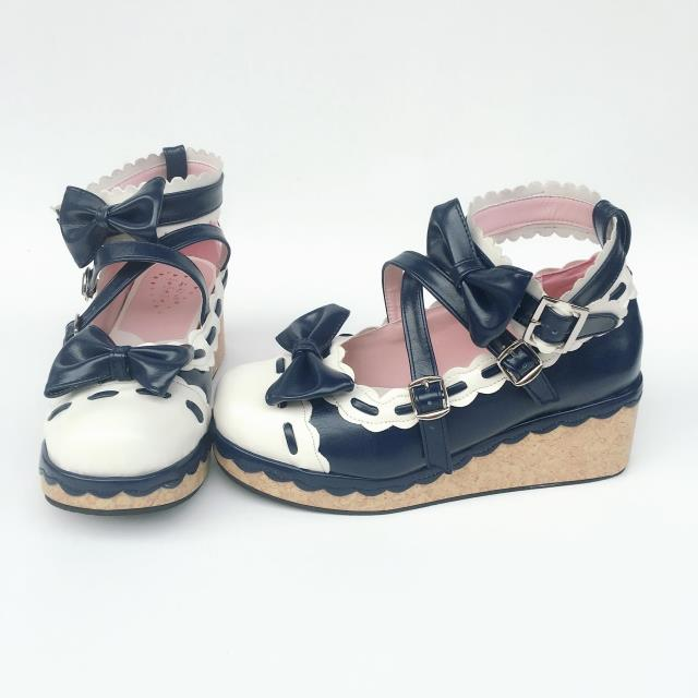 Royal Blue X White & 6cm heel + 3cm platform