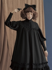 Pure Love Unicolor Chiffon Long Sleeves High Collar Classic Lolita OP Dress