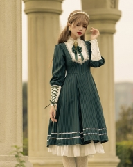YinLing Maiden Striped Vintage Classic Lolita OP Dress