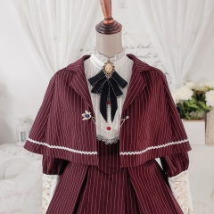 YinLing Maiden Striped Vintage Classic Lolita Cape and Necktie