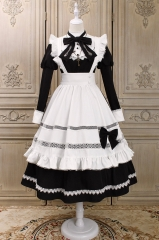 Alice Girl -The Cute Housekeeper- Vintage Classic Lolita OP Dress and Apron