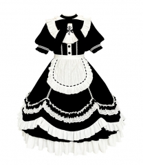 WithPuji -Good Morning The Cute Housekeeper- Vintage Classic Lolita OP Dress and Apron Set
